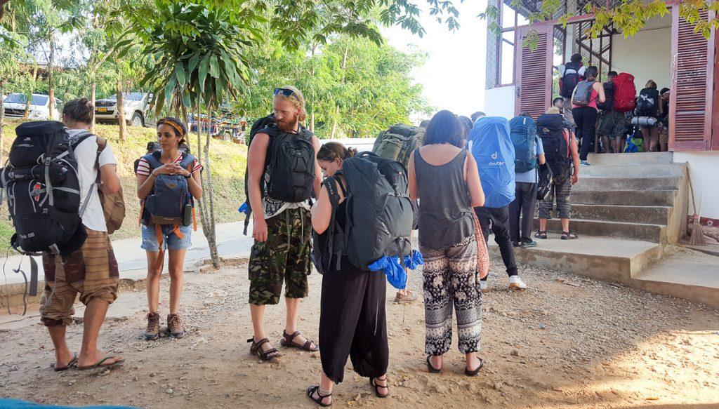 In line for tuk-tuk tickets in Luang Prabang