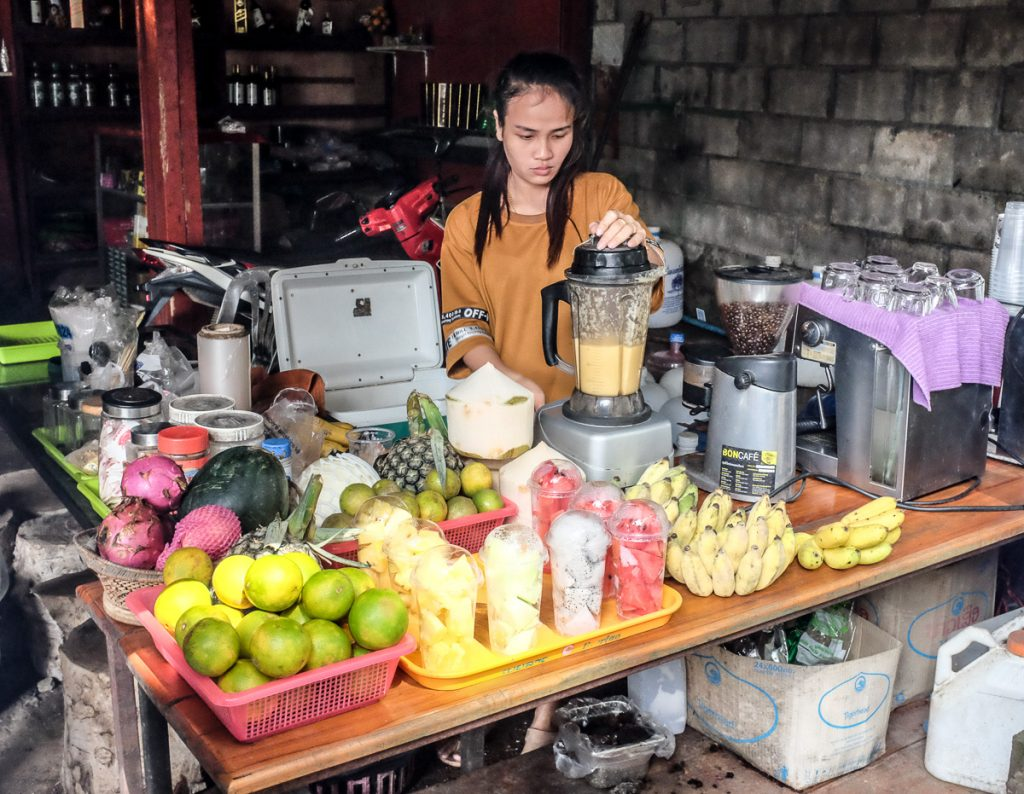 Fruits, coffee and drinks before boarding the slow boat in Huay Xai