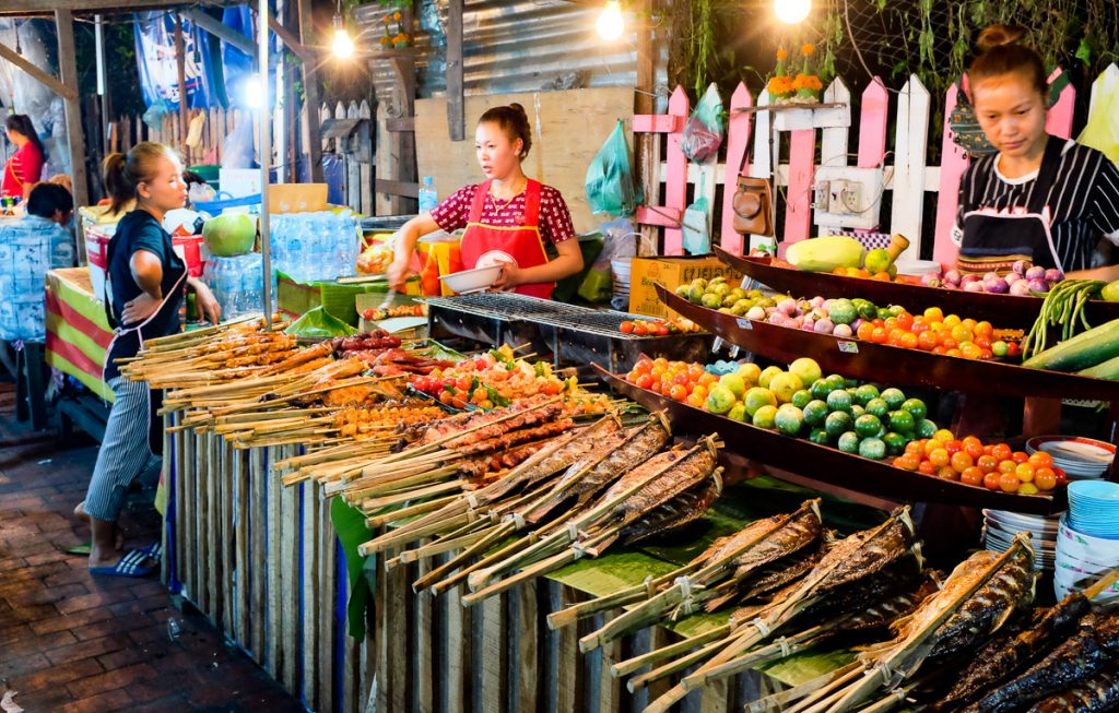 Street food in the Night Market, Luang Prabang, Laos