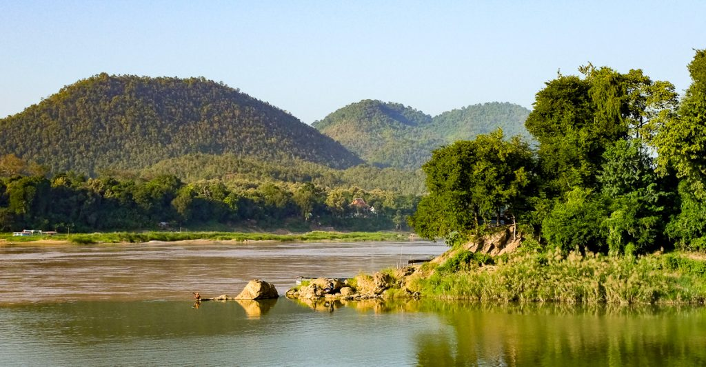 Nam Khan river (the green water) and Mekong (the brown water)